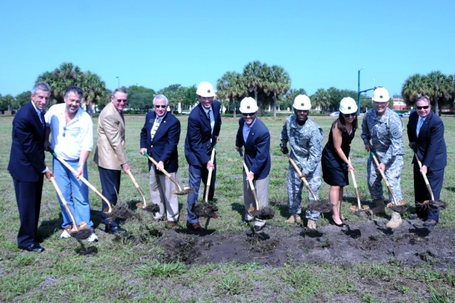 Ground is broken in Lake Park, Florida for a new Army Reserve Center that will house approximately 600 Soldiers. the 64,514 sq. ft. facility will cost about $16 million and should be completed in the summer of 2013. Pictured from right to left are: town manager, Jamie Titcomb; toen commissioner, Steve Hockman; Col. (Ret.) John Parsons; Army Reserve Ambassador Donald Slesnick II; Mayor James DuBois; representative of Congressman Allen West, Steve Martino; 623rg Transportation Company, Capt. DeXavior Smith; representative of Senator Bill Nelson, Michelle McGovern; 81st RSC commander Maj. Gen. Gill Beck and Chief Executive Officer of the Army Reserve Tad Davis.