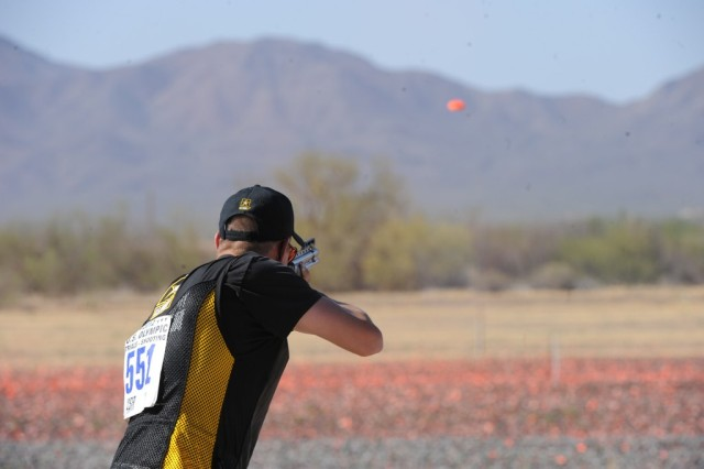 Sgt. Glenn Eller III competes in the finals for double trap at the 2012 U.S. Olympic Shotgun Team Trials, May 19, 2012, at the Tucson Trap & Skeet Club in Arizona. His first-place finish earned him a spot on Team USA in London.