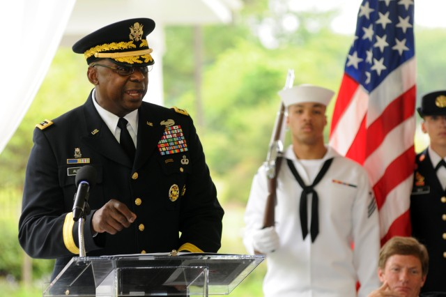 Vice Chief of Staff of the Army Gen. Lloyd J. Austin III spoke May 22, 2012, at a ceremony to open the newest Fisher House at Fort Belvoir, Va.