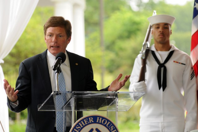 Fisher House Foundation Chairman & Chief Executive Officer Ken Fisher spoke May 22, 2012, at a ceremony to open the newest Fisher House at Fort Belvoir, Va.