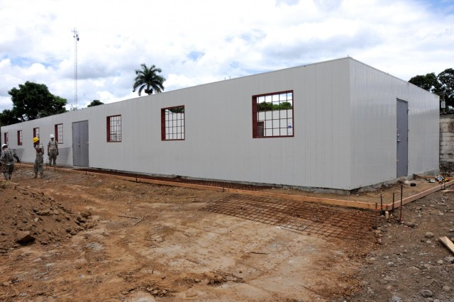 Soldier's serving on Beyond the Horizon 2012 in Honduras are building a clinic at the Quimistan construction site. The project is near 50 percent completion.