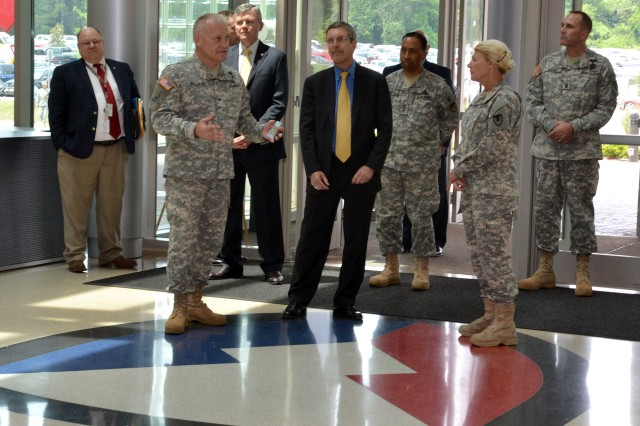 COL Daniel Williams gives a tour of the U.S. Army Materiel Command headquarters building to the Honorable Alan F. Estevez, Assistant Secretary of Defense for Logistics and Materiel Readiness, while he was at Redstone Arsenal for briefings with GEN Ann E. Dunwoody, AMC's Commanding General.