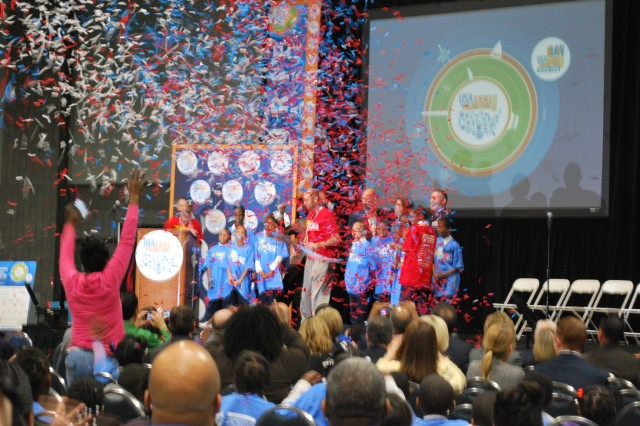 Youth from Martin Luther King Jr. Elementary School in Washington D.C. performed for the for the USA Science and Engineering Festival kick off ceremony April 28 at the Walter E. Washington Convention Center in Washington, D.C. The event, billed as the largest celebration of science in the USA, was attended by more than 150,000 people.
