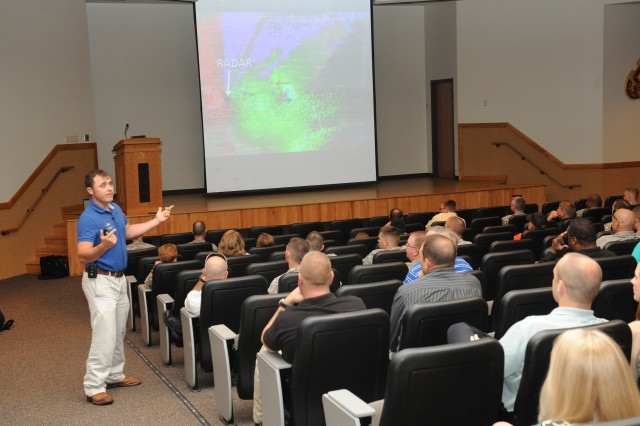 Doug Cramer, Nation Weather Service meteorologist, discusses Missouri weather patterns and hazardous conditions at Lincoln Hall Auditorium May 16.