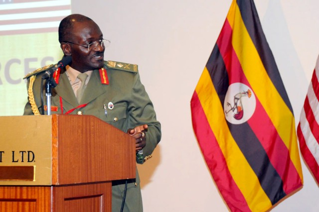 Ugandan Peoples Defence Force Gen. Aronda Nyakairima, chief of defence forces talks about the possibility of a secure Africa at the closing ceremony of the African Land Forces Summit 2012, May 18.