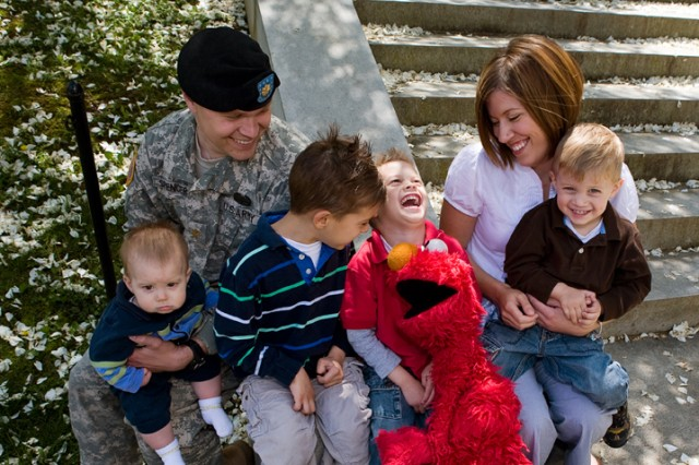 Elmo, one of Sesame Street's favorite Muppets, knows how to make a child smile, and especially the entire military family.