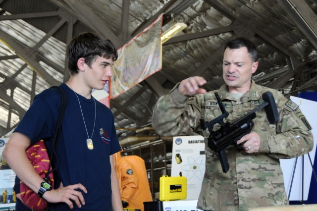 The Army had multiple pieces of ground equipment on site, with Soldiers manning stations to explain their work to civilians in attendance at the Joint Service Open House May 18 at Joint Base Andrews.