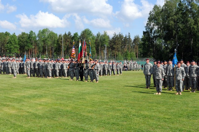 Multi-national students of Warrior Leaders Course Class 08-12 graduated in becoming non-commissioned officers, at the 7th Army Non-Commissioned Officer Academy in Grafenwoehr, Germany, May 24. Class 08-12 consisting of 257 students conducted an 18 day course consisting of physical readiness training, drill and ceremony training, oral presentations, and more while learning what it takes to be a non-commissioned officer.  (U.S. Army photo by Pfc. Chalon Hutson, 301st Public Affairs Detachment.)
