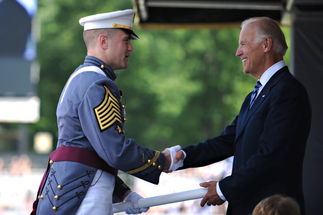 Vice President Joe Biden shakes hands with cadet First Captain Charles Phelps during graduation at the U.S. Military Academy in West Point, N.Y., May 26, 2012.