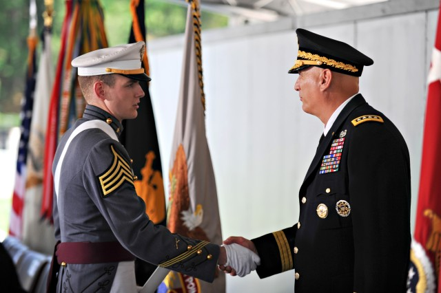 Army Chief of Staff Gen. Ray Odierno shakes hands with cadets during commencement exercises for the class of 2012 at the U.S. Military Academy at West Point, N.Y., May 26, 2012.