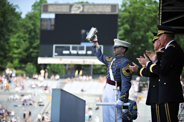 "Cadet Shelton Seaborne, also known as the ""Goat,"" receives a standing ovation by his classmates during commencement exercises for the class of 2012 at the U.S. Military Academy at West Point, N.Y., May 26, 2012. U.S."