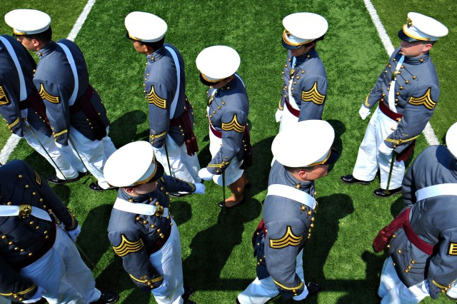 Army cadets stand in line to obtain their diplomas during commencement exercises for the class of 2012 at the U.S. Military Academy at West Point, N.Y., May 26, 2012.