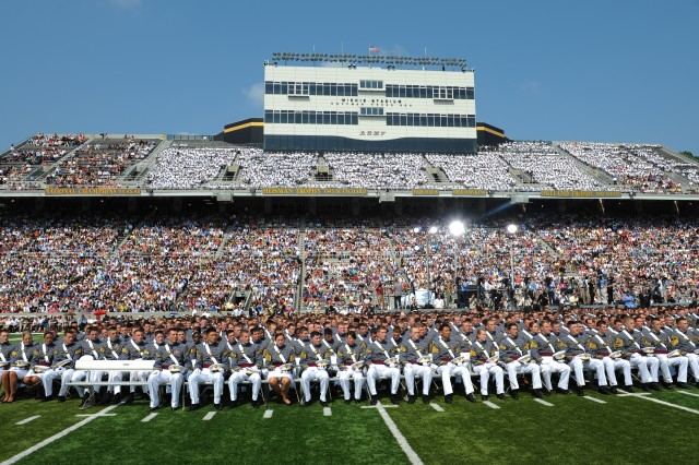 Army cadets and their families fill Michie Stadium to attend commencement exercises for the class of 2012 at the U.S. Military Academy at West Point, N.Y., May 26, 2012.