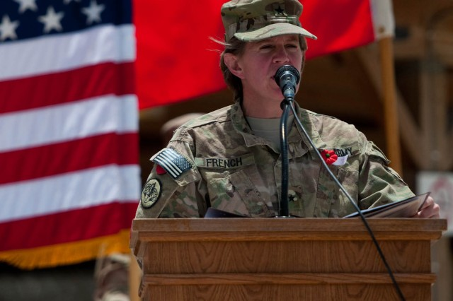 Brig. Gen. Kristin K. French, the commanding general of the 3d Sustainment Command (Expeditionary), was the keynote speaker during the Memorial Day observance at Kandahar, Afghanistan on May 28. (U.S. Army photo by Staff Sgt. Michael Behlin)