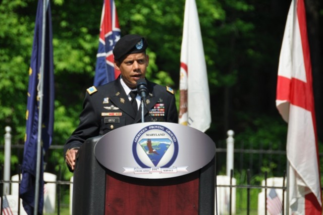 Col. Orlando Ortiz, APG Garrison and deputy installation commander, addresses the audience during the Memorial Day Tribute at Edgewood Arsenal Cemetery in APG South (Edgewood) May 28.