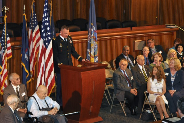 Arsenal Commander Col. Mark F. Migaleddi speaking to New York state Senators and to Veterans who were being honored on May 22.