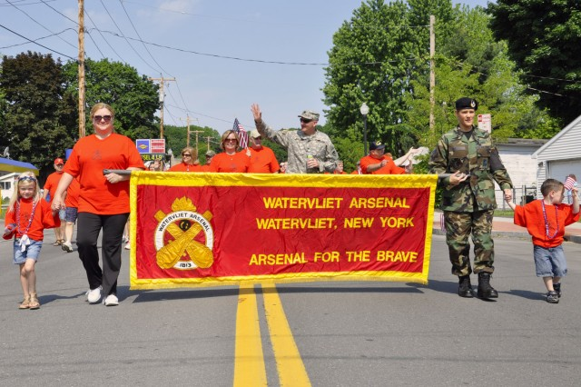 The Arsenal has only one active-duty servicemember, its commander.  Col. Mark F. Migaleddi leads the Arsenal parade contingent through the City of Watervliet on Memorial Day.
