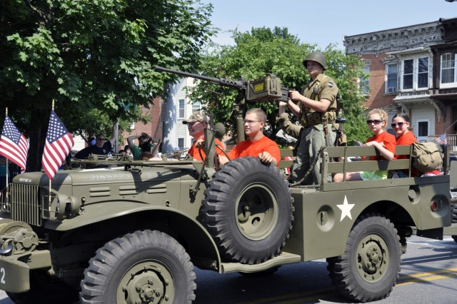 The Arsenal's parade contingent consists of about 8-10 vehicles, such as this one, two floats, and several Arsenal emergency service vehicles.  This vehicle was provided by the Hudson-Mohawk Military Vehicle Collectors Club.