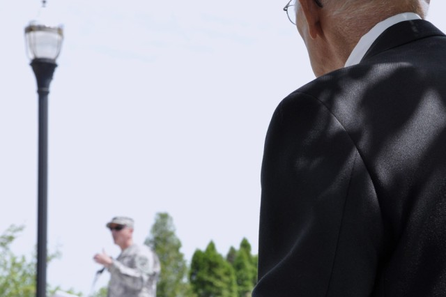 A World War II Veteran listening to Col. Mark F. Migaleddi's remarks during the Memorial Day ceremonies in the City of Watervliet on May 28.