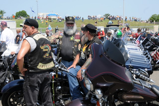 """At the Pentagon in Arlington, Va., thousands of motorcyclists gathered to participate in the 25th """"Rolling Thunder"""" motorcycle rally, May 27, 2012. The event is in its 25th year now. Participants from around the United States gathered at the Pentagon before embarking on a ride around the National Mall in Washington, D.C. This year's Rolling Thunder coincides with the 50th anniversary of the start of the Vietnam War. Many of the participants in the rally are veterans of that war. The rally brings attention to prisoners of war and those missing in action."""