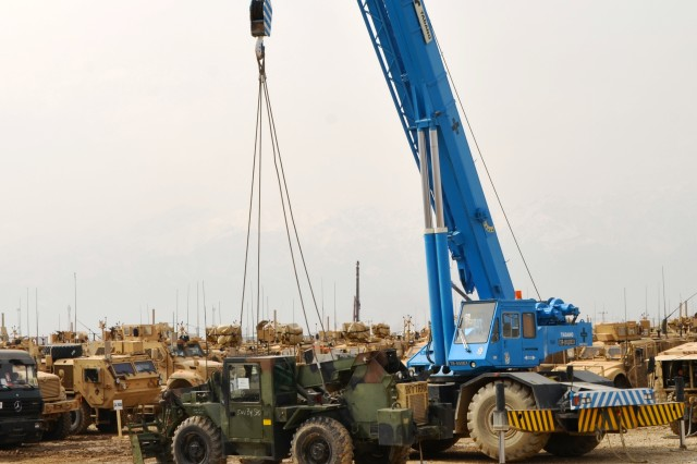 A piece of equipment destined for 1st Brigade Combat Team, 82nd Airborne Division, Task Force Devil Hammer, is ready to be loaded onto a truck for transport from Bagram Airfield to Forward Operating Base Warrior.