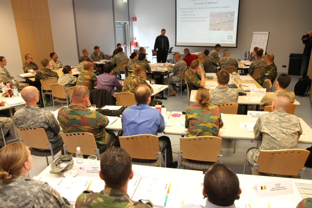 More than 50 students from six NATO countries attended a four-day engineering course, the week of May 15 at the Wiesbaden Entertainment Center, designed to teach the basic development, planning, execution, and closure processes of a base camp downrange.