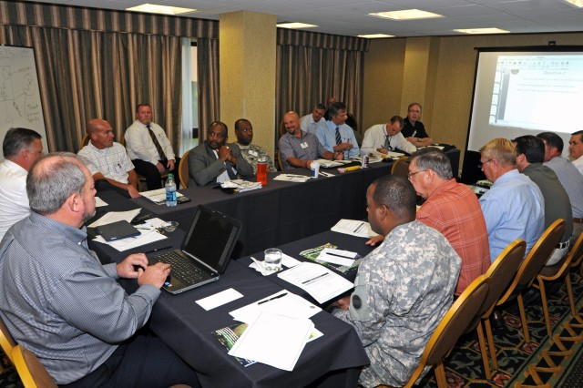 SAN ANTONIO - Anti-terrorism officers and security professionals from major U.S. Army commands in North America meet in San Antonio participate in a table top exercise May 23 to identify existing communications systems, processes and shortfalls during Army North's 2012 Force Protection Conference May 22-24. Army leaders from  U.S. Army Forces Command; U.S. Army Installation Management Command; U.S. Army Cyber Command; U.S. Army Criminal Investigation Command; and other Army commands, Army Service Component Commands and direct reporting units attended the conference to hear presentations and participate in solution-seeking table-top exercises. (U.S. Army photo by Staff Sgt. Keith Anderson, Army North PAO)