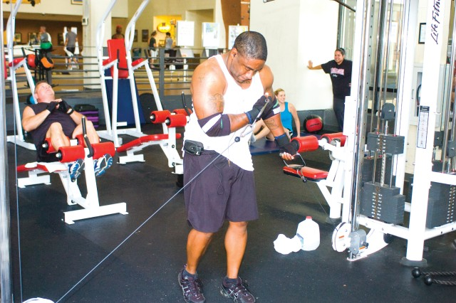 Brondon Harper uses the weight equipment at Smith Fitness Center.