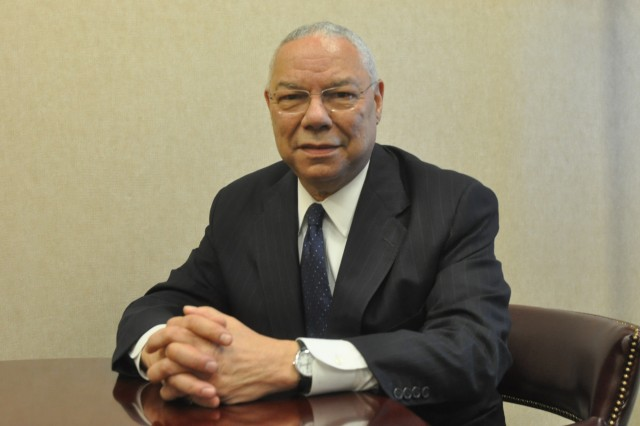 "Colin Powell, former Secretary of State and retired four-star general, sits in a conference room at McAuliffe Hall, the 101st Airborne Division Headquarters, Wednesday morning. Powell visited Fort Campbell to promote his newly-released book, ""It Worked for Me: In Life and Leadership."""