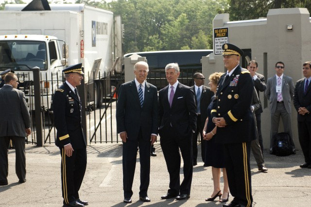 Talking before the commencement ceremony at the U.S. Military Academy at West Point, N.Y., May 26, 2012, are, from left, West Point Superintendant Lt. Gen. David H. Huntoon, Jr., U.S. Vice President Joseph R. Biden, Jr., Army Secretary John McHugh, Mrs. Linda Odierno and Army Chief of Staff Gen. Ray Odierno. (U.S. Army photo by Spc. John G. Martinez)