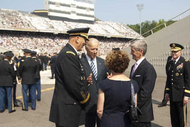 Talking before the commencement ceremony at the U.S. Military Academy at West Point, N.Y., May 26, 2012, are, from left, Army Chief of Staff Gen. Ray Odierno, U.S. Vice President Joseph R. Biden, Jr., Mrs. Linda Odierno and Army Secretary John McHugh. (U.S. Army photo by Spc. John G. Martinez)