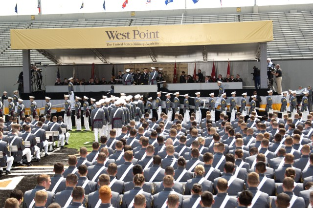 U.S. Military Academy cadets of the graduating class of 2012 watch as their fellow classmates cross the dais to receive their diplomas at West Point, N.Y., May 26, 2012.(U.S. Army photo by Spc. John G. Martinez)