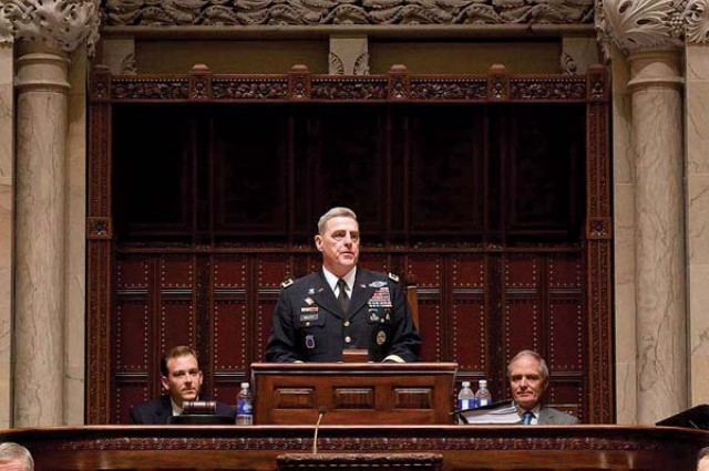 Maj. Gen. Mark A. Milley, Fort Drum and 10th Mountain Division (LI) commander, addresses a full senate chamber May 23 at the New York State Capitol building in Albany for the first-ever 10th Mountain Division and Fort Drum Day.