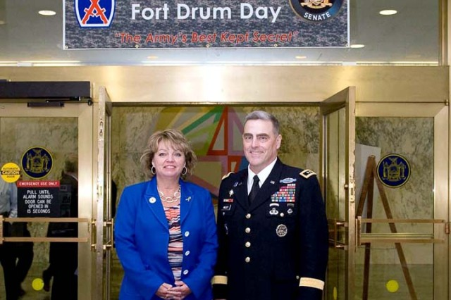 Milley poses for a photo with Sen. Patty Ritchie of New York's 48th District. Ritchie, who represents the district surrounding Fort Drum, was responsible for organizing the inaugural 10th Mountain Division and Fort Drum Day kick-off event at the state capital.