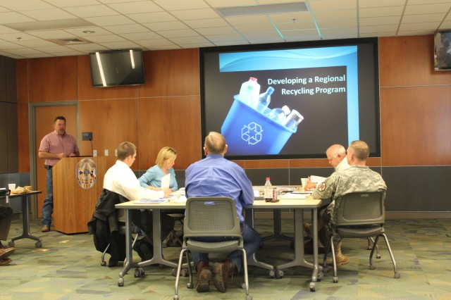 The Recycle Team participates in the Cen-Tex Sustainable Communities Partnership.  The partnership involves Fort Hood and the communities of Killeen, Copperas Cove, Harker Heights and Gatesville working together and establishing planning goals that have long-term environmental, economic and social benefits for the region.  One of the outcomes from the partnership was conducting a feasibility study for a regional recycling facility.