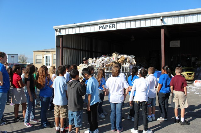 Annually, the Recycle Team hosts and participates in several environmental events like Pollution Prevention Week, America Recycles Day, and Earth Fest.  The Team emphasizes educating the Central Texas youth is important in increasing environmental stewardship and recycling efforts on the installation.  Throughout the year, the Team hosts tours and presentations for schools and educate them about its recycle operations and how the program gives back to the community.