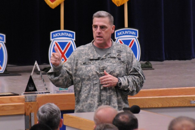 Maj. Gen. Mark A. Milley, Fort Drum and 10th Mountain Division (LI) commander, addresses senior leaders during briefing May 24 at the Fort Drum Multipurpose Auditorium. Fort Drum Soldiers, Families and civilians participated in a post-wide Safety Day.