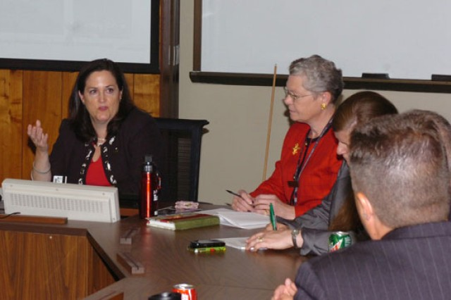 The Hon. Katherine Hammack, Assistant Secretary of the Army for Installations, Energy and Environment discusses the importance of sustainability with students at the U.S. Army War College during an elective course focused on Army sustainability issues and challenges for senior leaders.