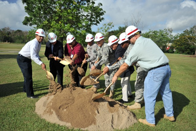 Representatives of the US Army Reserve-Puerto Rico, the US Army Corps of Engineers and the Fort Buchanan Garrison, conduct the traditional groundbreaking ceremony, symbolizing the beginning of the construction of the new Army Reserve facilities in Puerto Nuevo, San Juan, PR.