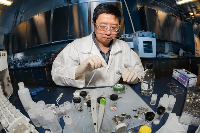Kang Xu, an Army Research Laboratory scientist, is one of the inventors responsible for a 30-percent increase in energy density in lithium batteries.