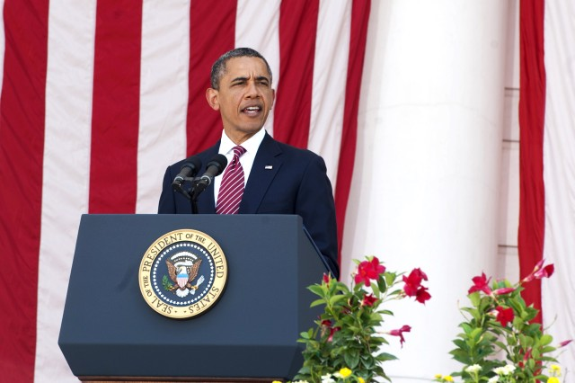 President Barack Obama delivers remarks during Memorial Day services at Arlington National Cemetery in Arlington, Va, May 28. Obama urged all Americans to remember those who sacrificed for the country and help servicemembers still feeling the effects of war.