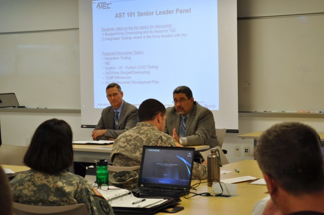 Brian Simmons, ATEC executive technical director, and David Jimenez, ATEC-AEC executive director, participate in a senior leader forum at the conclusion of the ATEC System Team 101 course May 11.