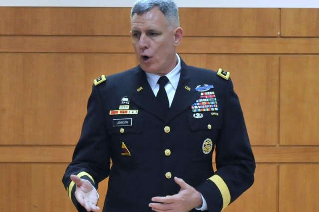 Eighth Army Commanding General Lt. Gen. John D. Johnson speaks to the students and faculty at Sungshin Women's University in Seoul, June 5, 2012.
