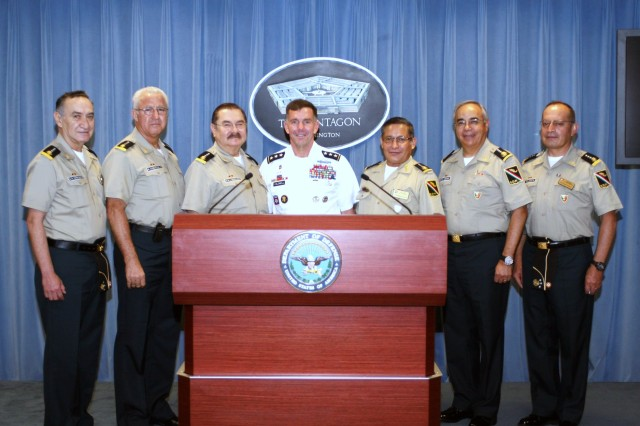 Lt. Gen. William Caldwell IV, the commanding general of U.S. Army North and senior mission commander for Fort Sam Houston and Camp Bullis, Texas, escorts Mexican army general officers as they visit the Pentagon Press Room in Washington, D.C., May 22, 2012, during the Fifth Army Inter-American Relations Program. FIARP took place May 21-25, in the capital area as part of continued efforts to improve and build upon relations between Mexico and the United States.