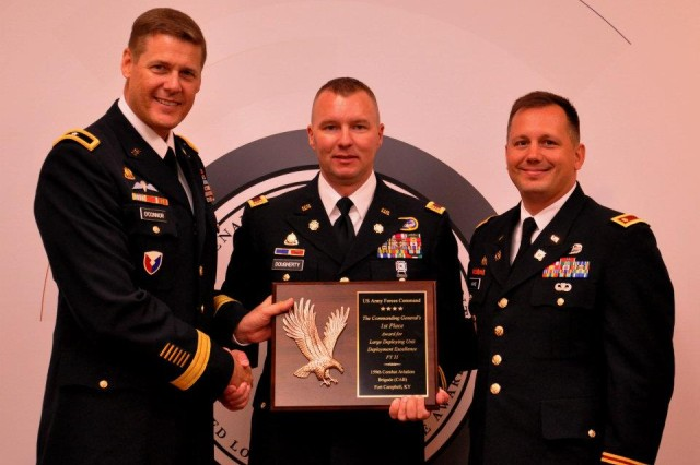 Brig. Gen. John R. O'Connor, U. S. Army Forces Command (FORSCOM), deputy chief of staff, G-4 presents the FORSCOM award for Best Large Unit Deployment Excellence to Chief Warrant Officer Patrick Dougherty and Maj. Jason Kahne, 159th Combat Aviation Brigade, 101st Airborne Division (Air Assault), Fort Campbell, Ky., June 5, 2012, in Washington D.C.