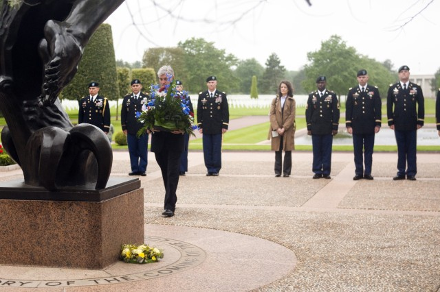 Secretary of the Army John McHugh lays a wreath at the memorial at Normandy American Cemetery in Colleville-sur-Mer, France, June 3, 2012.  The Normandy American Cemetery is one of 14 permanent American World War II military cemeteries on foreign soil, and is operated by the American Battle Monuments Commission.