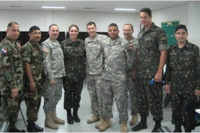 Lt. Col. Victor Green (third from left), 412th Theater Engineer Command, visits the Peace Keeping Operations Institute in Rio de Janeiro in 2006. Green at the time was attending the resident ILE course at the Western Hemisphere Institute for Security Cooperation at Fort Benning, Ga.