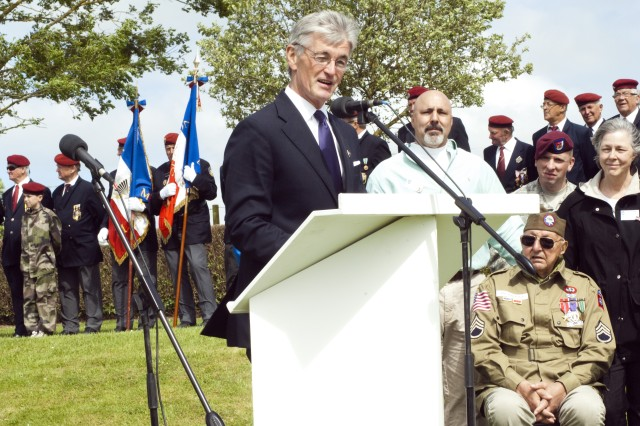 Secretary of the Army John McHugh takes part in the 68th anniversary of D-Day in Normandy, France, June 3-4, 2012.  McHugh spoke with WWII veterans and spectators in Sainte Mere Eglise and Carentan, and participated in the official commemoration ceremonies in both towns, which included parades and wreath-layings to honor all who fought and those who died.