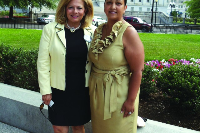 Bonnie Carroll (left), President and Founder of Tragedy Assistance Program for Survivors met with Maria Sutherland, Gold Star Family member of Staff Sgt. Stephen Sutherland, 4th Battalion, 14th Cavalry Regiment, 172nd Stryker Brigade Combat Team who was killed in action in Iraq in 2005. Sutherland and her three sons attended the TAPS seminar in Washington D.C. over the Memorial Day weekend with the McCain Family. Sgt. 1st Class Jonathan McCain, 1st Battalion, 5th Infantry Regiment was killed Nov. 13, 2011 as a member of the 1st Stryker Brigade Combat Team, 25th Infantry Division was deployed to Afghanistan in support of Operation Enduring Freedom. (Courtesy photo, Sutherland Family)