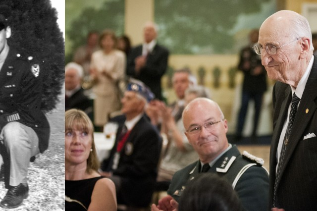 """Vintage photo of World War II veteran Dr. Earnest F. Gloyna next to a contemporary photo of him during a reception in honor of World War II veterans, in advance of a """"Twilight Tattoo"""" ceremony, June 6, 2012 at Joint Base Myer-Henderson Hall, Va.  The event was held in conjunction with the 68th anniversary of the Allied invasion of Normandy, France, June 6, 1944.  The theme of the ceremony was """"Saluting World War II Veterans on the 68th Anniversary of D-Day"""".  Twilight Tattoo is an hour-long military pageant featuring Soldiers from the 3rd U.S. Infantry Regiment (The Old Guard) and The U.S. Army Band """"Pershing's Own.""""  For more information go to http://twilight.mdw.army.mil/ (U.S. Army photo by Staff Sgt. Bernardo Fuller)"""